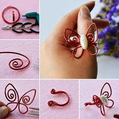 PandaHall Inspiration Project----Red Handmade Wire Wrapped Butterfly Ring PandaHall Beads APP is on, download here>>>goo.gl/jLxpjp Free Coupons: PHENPIN5 (Save $5 for $70+) PHENPIN7(Save $7 for $100+) #PandaHall #jewelrymaking #diyjewelry #Wire #Butterfly #Ring #craft #tutorial