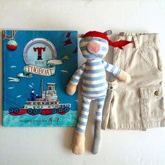 TugBoat #nautical #pirate #pig #organic #plush #shorts #sumer #book #readtome #boats #ocean