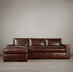 Maxwell Leather Left-Arm Sofa Chaise Sectional - in chestnut