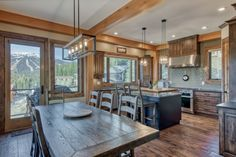 Ski Ridge Timber Frame Design – Streamline Design Kitchen Dining, Dining Room, Wrap Around Deck, Open Concept Kitchen, Home Builders, Great Rooms, Skiing, Patio, Frame