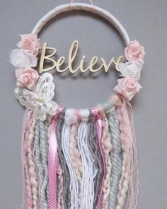 Believe in Your Dreams Catcher /Nursery Decor / Wall Hanging 2019 Glauben an Ihre Träume Catcher /Nursery Dekor / Wandbehang Dreams Catcher, Dream Catcher Decor, Dream Catcher Nursery, Lace Dream Catchers, Dream Catcher Mobile, Crafts To Make, Arts And Crafts, Kids Crafts, Couronne Diy