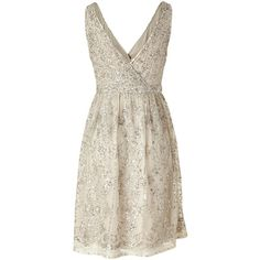 COLLETTE DINNIGAN Antique Silver Sequin Dress ($1,634) ❤ liked on Polyvore featuring dresses, vestidos, brown sequin dress, sequin wrap dress, fancy dress, sleeveless dress and dressy dresses
