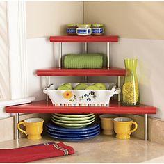 3 Tier Corner Shelf In Red Color
