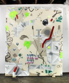 "wimbdiddler: Josh Reames, space case, acrylic on canvas, 60"" x 72"""