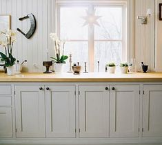 Grey Kitchen cabinets and light wooden countertops