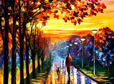 Huge Bedroom Wall Art - Evening Stroll — Palette Knife Yellow Skies Landscape Oil Painting On Canvas By Leonid Afremov. Music Painting, Sky Painting, Seascape Paintings, Leonid Afremov Paintings, Oil Painting On Canvas, Animal Paintings, Landscape Paintings, Popular Paintings, Yellow Sky