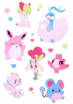 Fairy Pokemon Stickers by ieafy on DeviantArt Type Pokemon, All Pokemon, Pokemon Fan Art, Pokemon Party, Pokemon Stuff, Lucario Pokemon, Pikachu, Leprechaun, Types Of Fairies