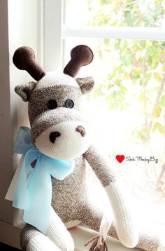 Stuffed Giraffe Sock Monkey Doll