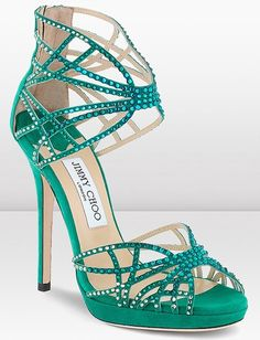 """Jimmy Choo """"Diva"""" Suede sandals with Hotfix Crystals in Jade... gorge."""