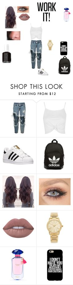 """Untitled #85"" by shawnia-selinia-thomas ❤ liked on Polyvore featuring One Teaspoon, Topshop, adidas, adidas Originals, Lime Crime, Michael Kors, Victoria's Secret and Essie"