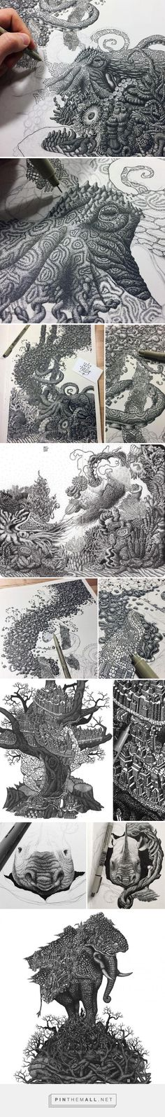 "California artist Kyle Leonard, who draws stunningly detailed stippled art with millions of dots, is inspired by the natural world and politics, especially the politics that affect the way we treat the environment. ""I draw everyday as a creative outlet and for the meditative quality of it."" He spends about 6 to 100 hours on each piece depending on size and complexity."