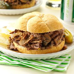 Simply Delicious Roast Beef Sandwiches Recipe -Mushrooms add a different touch to these comforting roast beef sandwiches. I like to pile the shredded beef high on Kaiser rolls.—Scott Powell, Phillipsburg, New Jersey