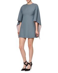 Kimono-Sleeve+Two-Tone+Mini+Dress,+Blue/Pink+by+Valentino+at+Neiman+Marcus.