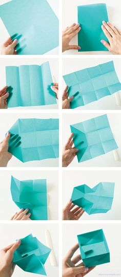 Origami Gift Box - A simple yet fantastic and unique way to give gifts. This origami gift box even has room for a little message to be slipped inside. gift box Become a DIY Expert With These 25 Projects Origami Diy, Origami Gift Box, Origami Paper, Oragami, Origami Ideas, Easy Origami Box, Simple Origami, Dollar Origami, Origami Bookmark