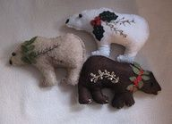 Felt bear ornaments