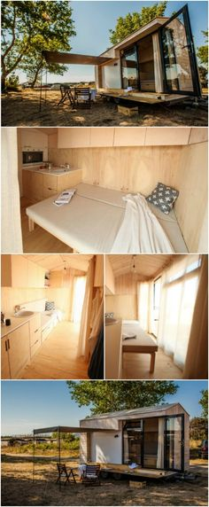 """Bulgarian Couple Come Up with Unique Tiny House Concept - A Bulgarian couple with a passion for building and design put their heads together to come with the concept of Koleliba which they describe as """"an oiled-plywood box with broad glazing and a glass door that swings open to let in plenty of fresh air and natural light""""."""