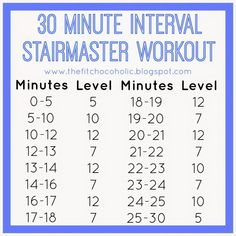 The Fit Chocoholic: 30 Minute Interval StairMaster Workout (Stair Step Exercises) Stairmaster Workout, Hiit Workout At Home, Treadmill Workouts, 30 Minute Workout, Body Workouts, Workout Ideas, Circuit Workouts, Step Workout, Cardio Routine
