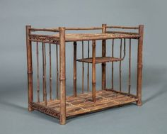 """Japanese Bamboo Miniature Tana (cabinet with shelves) for tea accoutrement.  Early 20th century, 15 1/2""""h. x 19 1/2""""w. x 11 1/4""""d."""