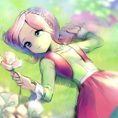 Anime girl, pink hair and flowers
