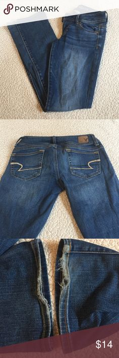 American eagle jeans Kick boot American eagle jeans size 0 short. Only worn a handful of times but some wear on bottoms because they were a little long on me. Kick boot is not made anymore. American Eagle Outfitters Jeans