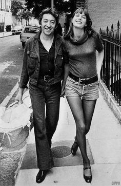 Serge Gainbourg e Jane Birkin  Hotpants girls of years 70's • Galleria immagini retro shorts anni 1970