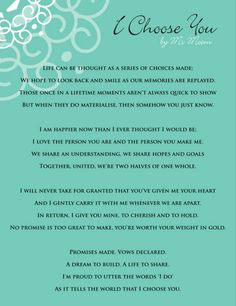 Trendy wedding quotes and sayings vows i choose you Wedding Ceremony Readings, Wedding Readings Unique, Simple Wedding Ceremony Script, Unique Wedding Vows, Wedding Details, Wedding Reception, Wedding Ceremonies, Wedding Vows To Husband, Wedding Vows That Make You Cry