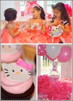 Hello kitty party ideas, hello kitty birthday party decorations and inspiration via @frostedevents with cute hello kitty cupcakes