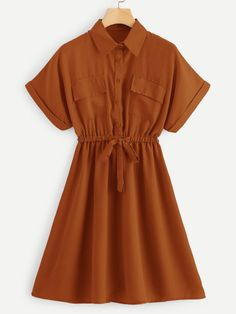 SheIn offers Drawstring Waist Shirt Dress & more to fit your fashionable needs. Casual Day Dresses, Cute Casual Outfits, Stylish Dresses, Cute Dresses, Teen Fashion Outfits, Look Fashion, Girl Outfits, Fashion Dresses, Dress Outfits
