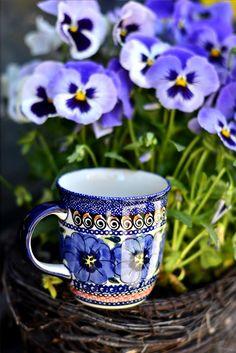 Classic ceramic mug. Hand painted pansy.
