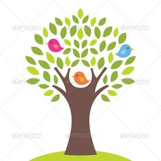 Birds on a Tree, Vector Illustration - Nature Conceptual
