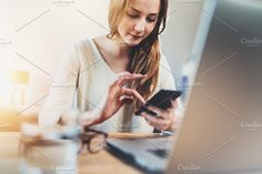 Female manager working at office by Yana_Production on @creativemarket