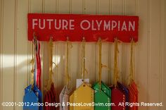 Future Olympian Swimming Medal & Ribbon Hanger Display -  Customization/Personalization Available from www.PeaceLoveSwim.com