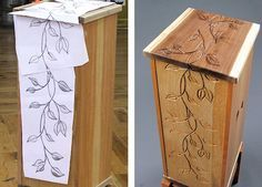 Going to try this on the next thing I make even if it's a birdhouse.  I will use my cricut to make the stencil so I can have any design I want.  Home-Dzine - Uniquely carved furniture