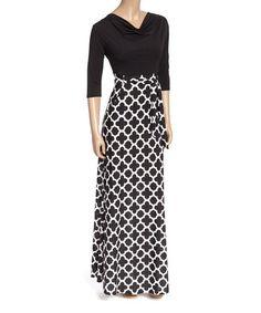 Look at this #zulilyfind! Black Lattice Cowl Neck Maxi Dress #zulilyfinds