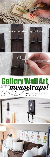 Create this DIY gallery wall art using mousetraps! Hang vintage botanical prints to add charm and visual interest. ------------ Crear esta galería de arte de la pared DIY usando trampas para ratones! Cuelgue impresiones botánicas vintage a añadir encanto e interés visual.