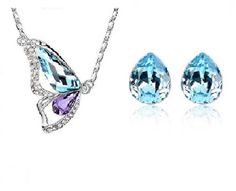 crystal necklace, crystal earrings, necklace&earring jewllery set, blue crystal,