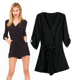 2016 New Women summer black basic jumpsuit Long sleeve casual sashes playsuit & bodysuit V neck sexy women overalls vestidos-in Rompers from Women's Clothing & Accessories on Aliexpress.com | Alibaba Group