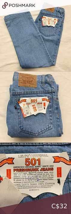 """Levi's Original 501s Please see approximate measurements below   Classic Levi's 501s  Light wash Zip fly Great condition 9/10- only flaw is small mark on the back of the right leg (barely noticeable) 100% cotton Tag says size 30 Please note that they are hemmed by exactly 1 inch (can be removed)  Waist 28"""" Inseam 29"""" Rise 11"""" Hips 34"""" Levi's Jeans Colored Jeans, 9 And 10, Note, Zip, The Originals, Classic, Cotton, Closet, Stuff To Buy"""