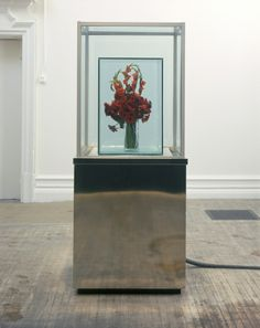 Marc quinn Eternal Spring (Red) I 1998 Mixed media Stainless steel, glass, frozen silicon, flowers and refrigeration equipment 219.7h x 90w x 90d cms Subjects: Frozen flowers