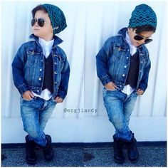 Boy in the perfect winter outfit.denim pants and jacket,white shirt and west,boots and cap. Little Boy Outfits, Little Boy Fashion, Kids Fashion Boy, Toddler Boy Outfits, Toddler Fashion, Kids Outfits, Vest Outfits, Denim Outfit, Casual Outfits