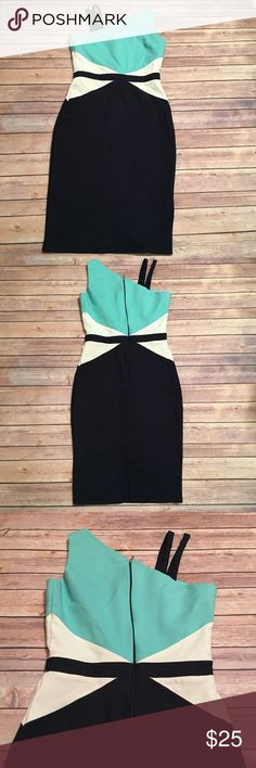 """Paper Dolls multi colored dress Aqua, navy, and white one large shoulder strap with two smaller ones on other side. Zip up back. 39"""" long. Paper Dolls Dresses"""
