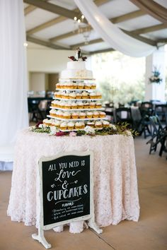 Cupcake Wedding Cake   It Was Always You   Keri and Jarrett Tie the Knot at Castleton Farms with photos by Leah Bullard Photography   The Pink Bride®️ www.thepinkbride.com