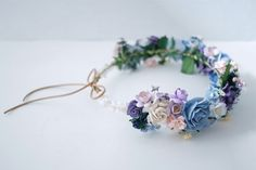 Paper Flower Bridal flower crown circle wild 20 cm. by Kamipapa