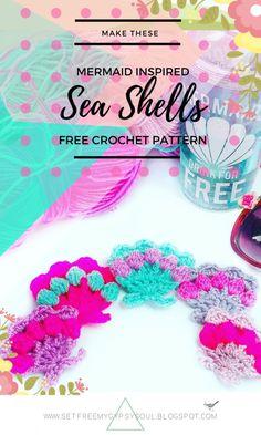 Set Free My Gypsy Soul | a Bohemian Craft and Crochet blog : Mermaid Pastel Sea Shells with Bobble Stitch | Free Crochet Pattern
