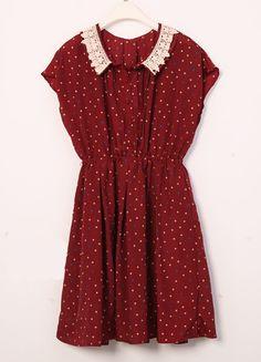 Vintage Polka Dot Lapel Waist Chiffon Dress Red