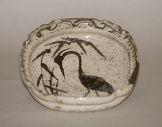 Bowl with Design of Heron in Reeds  Period: Momoyama period (1573–1615) Date: late 16th century Culture: Japan Medium: Stoneware with underglaze iron brown (Mino ware, Shino type) Dimensions: Diam. 6 1/2 in. (16.5 cm) Classification: Ceramic