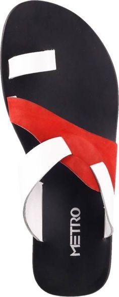 Metro Men White, Red Sandals - Buy 93,WHITE-RED Color Metro Men White, Red Sandals Online at Best Price - Shop Online for Footwears in India   Flipkart.com Low Heel Sandals, Red Sandals, Fashion Sandals, Strap Sandals, Leather Sandals, Flat Sandals, Leather Slippers For Men, Mens Slippers, Sock Shoes