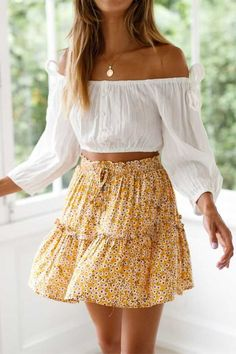 Elastic Fitting Boho Tie Front High Waist Layered Ruffle Floral Skirt Get extra OFF any 2 pcs with Code: SUNIDRESS. yellow ruffle mini skirt floral skirt with ruffle bottom flounce hem skirt waist tie flounce mini skirt tiered ruffle skirt layered Cute Skirt Outfits, Cute Skirts, Cute Summer Outfits, Spring Outfits, Trendy Outfits, Mini Skirts, Floral Skirt Outfits, Outfit Summer, Skirts For Summer