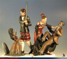Scottish Zombie Wedding Topper - three favorite things - wedding - Scots & zombies.