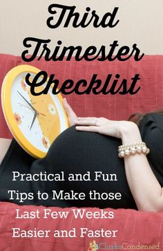 Are you in the last trimester of pregnancy? It can drag on - I know. Here is a third-trimester checklist and guide of things to do to make those last few weeks of pregnancy go by a little faster. You'll be a mom to your new baby in no time!
